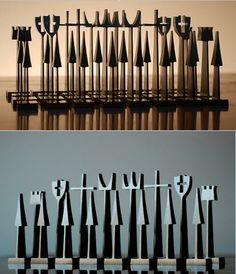 Austin Cox, chess set made from aluminum as a gift to Alcoa customers, 1962.
