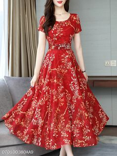 Round Neck Floral Printed Maxi Dress , formal dresses maxi dresses womens dresses summer dresses party dresses long dresses casual dresses dresses for wedding , # Cheap Maxi Dresses, Spring Dresses, Women's Dresses, Dresses Online, Dress Summer, Long Dresses, Simple Dresses, Party Dresses, Dress Silhouette
