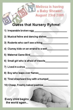 Nursery Rhyme Baby Shower Theme Fun Gender Reveal