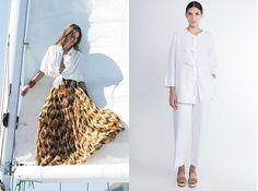 Pra quem gosta de promoção a Lenny Niemeyer (da esq.) está liquidando a coleção de verão: bata ampla (de R$ 395 por R$ 237) e saia longa plissada (de R$ 990 por R$ 594). Huis Clos, à direita: calça (de R$ 980 por R$ 490) e veste (de R$ 1.190– por R$ 595) - vem ver mais no site!