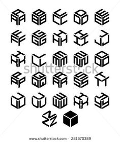 Cubic alphabet set. Vector geometric font Fonts, Geometric Font, Company Logo, Calligraphy, Overwatch, Cube, Alphabet, Vectors, Advertising