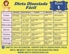 MENÚS SEMANALES PARA LA DIETA DISOCIADA FACIL: Estos menús semanales para la dieta disociada  facil son orientativos y creados por mi p...