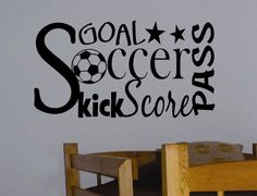 Self-adhesive Vinyl Wall Lettering Available in 3 sizes listed in SIZE drop down menu Word Collage - Soccer related words CHOOSE YOUR COLOR AND SIZE FROM DROP DOWN MENU *For Color reference please see