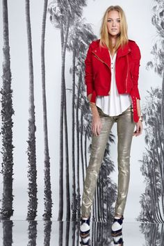 Red Moto Metallic Pants and Oxford Juicy Couture Fall 2013
