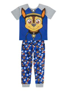 Fans of Paw Patrol will love these character pyjamas, featuring his favourite pup, Chase. Designed in cotton rich material for optimum comfort, this set features fun 3D ears.  Boys blue paw patrol pyjamas Short sleeve Cuffed bottoms Applique details Keep away from fire