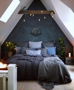 windows for bedroom beds \ windows for bedroom . windows for bedroom small spaces . windows for bedroom interior design . windows for bedroom ideas . windows for bedroom beds . basement bedroom no windows . bedroom with big windows Dream Rooms, Dream Bedroom, Night Bedroom, A Frame Bedroom, Attic Bedroom Decor, Bedroom Themes, Attic Bedrooms, Dark Bedrooms, Bedroom Green