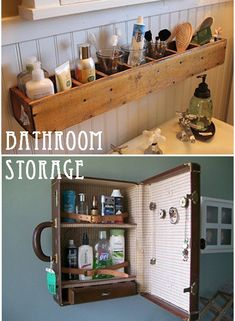 Love the small vintage suitcase as a medicine chest.