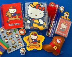 "91 Likes, 12 Comments - Lindy Mojica (Puerto Rico) (@linlan_kitty_land) on Instagram: ""Hello Kitty Cowgirl Stationery Pouch, Playing Cards, Spiral Notebook & Coin Purse(2003) #sanrio…"""
