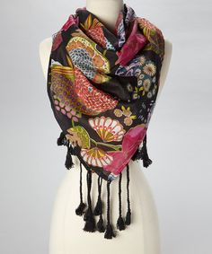 Love this Black & Pink Floral Scarf by The Accessory Collective on #zulily! #zulilyfinds
