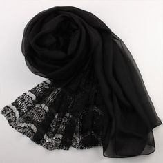Black Lace And Silk Scarf Black Lace Chiffon Scarf AS26 (85 AUD) ❤ liked on Polyvore featuring accessories, scarves, lacy shawl, pure silk scarves, chiffon scarves, silk chiffon shawl and lace shawl