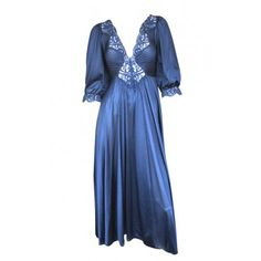 1970s Navy Blue Lace Night Gown, Approx Size 6 - Full Length - Dresses