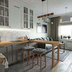Kitchen Layout Design with Marble backsplash, soap stone countertops and white cabinets Small Apartment Interior, Condo Interior, Small Apartment Design, Kitchen Interior, Interior Design Living Room, Studio Kitchen, Home Decor Kitchen, Kitchen Living, Home Living Room