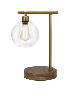 IMAX Amplitude Glass and Wood Table Lamp