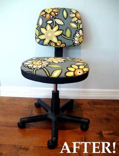 recovering classic office chair: nice way to get ergonomics and look for a home office :) I think I would've spray painted the black plastic parts in white as well, with a good primer #chair #homeoffice