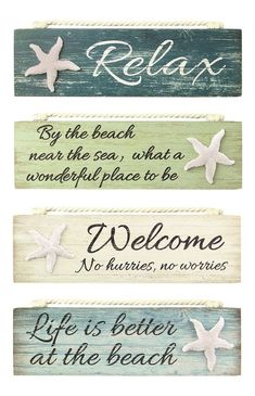 Relax By Beach Welcome Life is Better Painted Wood Block Sign Coastal Design New | Home & Garden, Home Décor, Plaques & Signs | eBay!