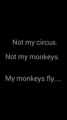 Not my circus. Not my monkeys. My monkeys fly.......<3