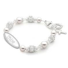 Christening / Baptism Baby Bracelet for girls, white pearls