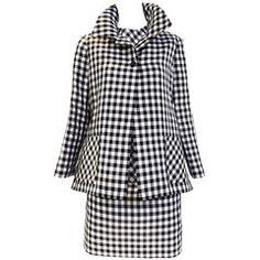 Bill Blass checkered print silk organdy 3 pcs jacket skirt suit