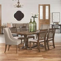 """$2424 Magnolia Home 'Traditional Collection' Iron Trestle Dining Table -  84""""L X 44""""W X 30""""H.  white oak + strap metal."""
