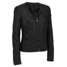 Black Rivet Center Zip Round Neck Leather Jacket w/Side Stitching Was: $650.00                     Now: $199.99