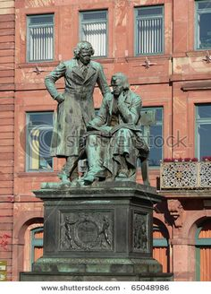 Grimm Brothers - famous literary German sculpture in Hanau city, Germany, sculpted by Syrius