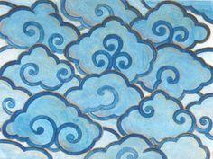 Tibetan inspired clouds watercolor.