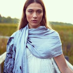 Wrap yourself in elegance with our ultra soft wool silk scarf featuring bird print.