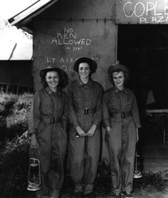 Before going on duty, Army nurses stand in front of the 13th Station Hospital, Australia, 1943 ~