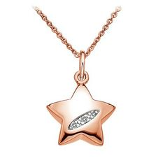 Hot Diamonds - Shooting Stars Star Teardrop Pendant - Rose Gold Plated - Necklaces