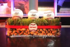 Baseball and Peanut Centerpiece on The Obsessive Crafter: Party Post: Sports themed Bar Mitzvah