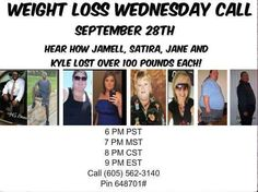 Did you miss our Weight Loss Wednesday call! last night?? That's ok....here's the play back! https://www.freeconferencecallhd.com/playback.html... I'm so excited to be able to introduce you to these amazing success stories There will be a question-and-answer period after we hear from our speakers. You Do not want to miss the inspiring testimonials. If you ever wondered if our products work ....call in and be amazed. Here are 4 -100+ losers... that are Winners.. Kyle Huck Satira Herberger…
