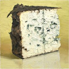 Valdeon - This popular blue cheese painting was commissioned so it was fun to paint a prepaid painting :) Love this cheese! Apparently, I love all blues.. I also was quite taken by the leaves this wedge wass wrapped in as they started coming a bit loose after it warmed up during the painting process.  Prints of Food Paintings @ mikegeno.com