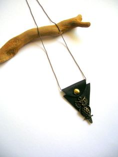 Owl Leather Necklace Leather Necklace Geometric by NurayAytac