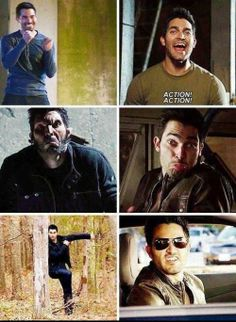 Teen Wolf - Derek Hale - bloopers. Wow he can actually smile!! And it's a nice smile!! Lol I think it's rare for him to smile on the show XD