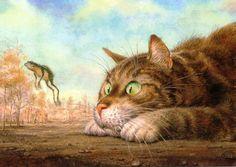 Обои Кот пристально смотрит на прыгнувшую лягушку, на фоне неба и деревьев, обои для рабочего стола Кот пристально смотрит на прыгнувшую ля