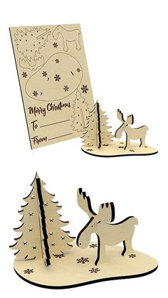 Christmas Toys, Christmas Cards, Christmas Decorations, Christmas Ornaments, Laser Cutter Projects, Cnc Projects, Laser Cut Wood, Laser Cutting, Cool Laser