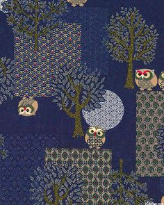 Japanese Import - Moonlit Miniature Owls-Quilt Fabrics from www.eQuilter.com