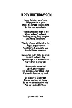 Unique framed Happy Birthday Son Poem from Querky Spike. Son Birthday Quotes, 7th Birthday Boys, Birthday Messages For Son, Birthday Funnies, Mother Son Quotes, Son Quotes From Mom, Mommy Quotes, Mothers Love For Her Son, I Love My Son