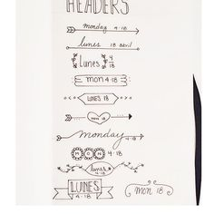Doodles of some headers for my bullet journal  #bujojunkies #bulletjournal #bujo #mondayapril18 #doodles #headers