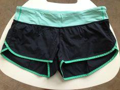 Lululemon Speed Shorts Black Green Stripe size 10 #Lululemon #Shorts