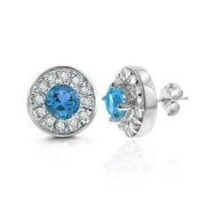 #7: 2.00 Carat tw Blue Topaz  White Sapphire Earrings in Sterling Silver.