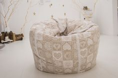 Rustic large beanbag chair, Vintage bean bag, natural beanbag chair cover, beanbag for adults by Magicbeanbag on Etsy