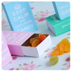 """Keep calm and have some candy free printable match box covers in pink, turquoise and green from Pastill.nu. For download click on the word """"här"""" in the first line underneath last picture."""
