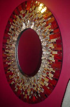 signature mosaic mirror circa 2008 Mosaic Wall Art, Mirror Mosaic, Mosaic Diy, Mosaic Crafts, Mosaic Projects, Mosaic Glass, Mosaic Tiles, Glass Art, Sea Glass