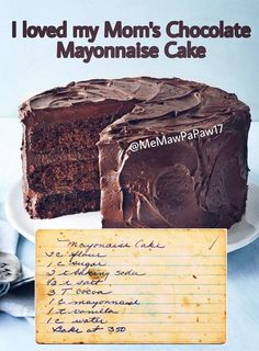 My Grandma Hazel used to make this and it was the BEST (as much as I hate mayonnaise). It's a tradition in our family still to make this cake. Köstliche Desserts, Delicious Desserts, Yummy Food, Baking Recipes, Cake Recipes, Dessert Recipes, Bolo Normal, Mayonaise Cake, Chocolate Mayonnaise Cake