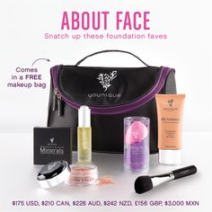 Uplift Eye Serum, BB Flawless Complexion Enhancer, Set of Blending Buds, Moodstruck Minerals Concealer, Moodstruck Minerals Pressed Blusher, Blusher Brush, Younique makeup bag.https://www.youniqueproducts.com/ReneeJohnson29