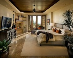 Really warm bedroom and sitting area... tan marble floors with light cream colors...