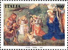 """1997 - """"Santo Natale """": particolare della """"Natività"""", affresco del Pinturicchio realizzato all'inizio del '500 (Cappella Baglioni della Chiesa di Santa Maria Maggiore a Spello - PG)"""