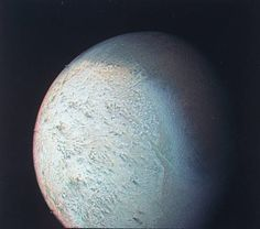 Partially cropped of Triton Neptune's largest moon taken from Voyager II spacecraft