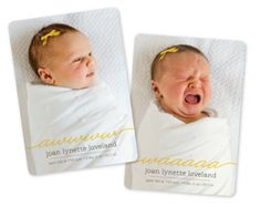 cute and clever double-sided birth announcement!